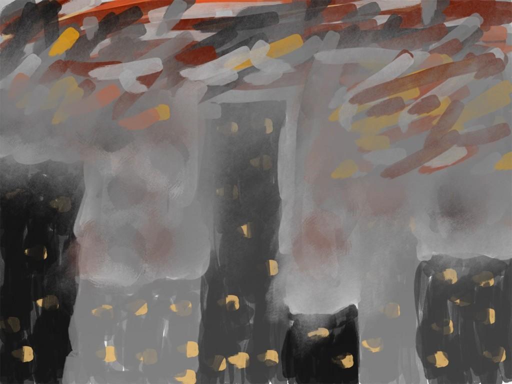 Skizze: Die brennende Stadt