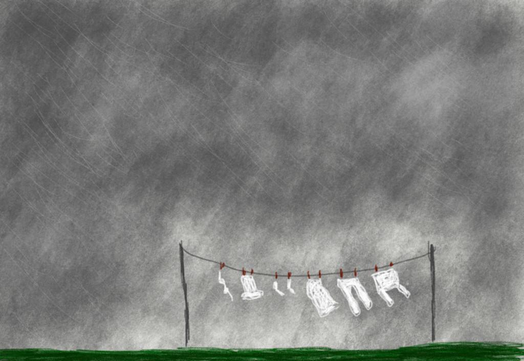 Skizze: Wäscheleine im Regen