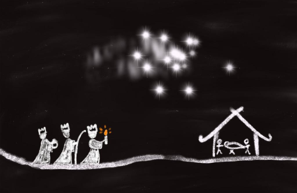 Skizze: Die Heiligen Drei Könige (Kreide)
