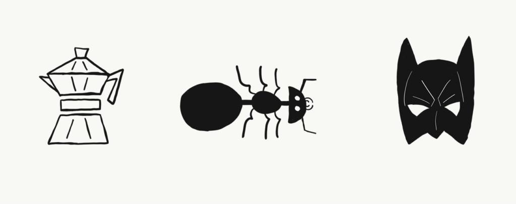 Skizze: Achteckteil Ameise Fledermaus-Maske (Tusche)