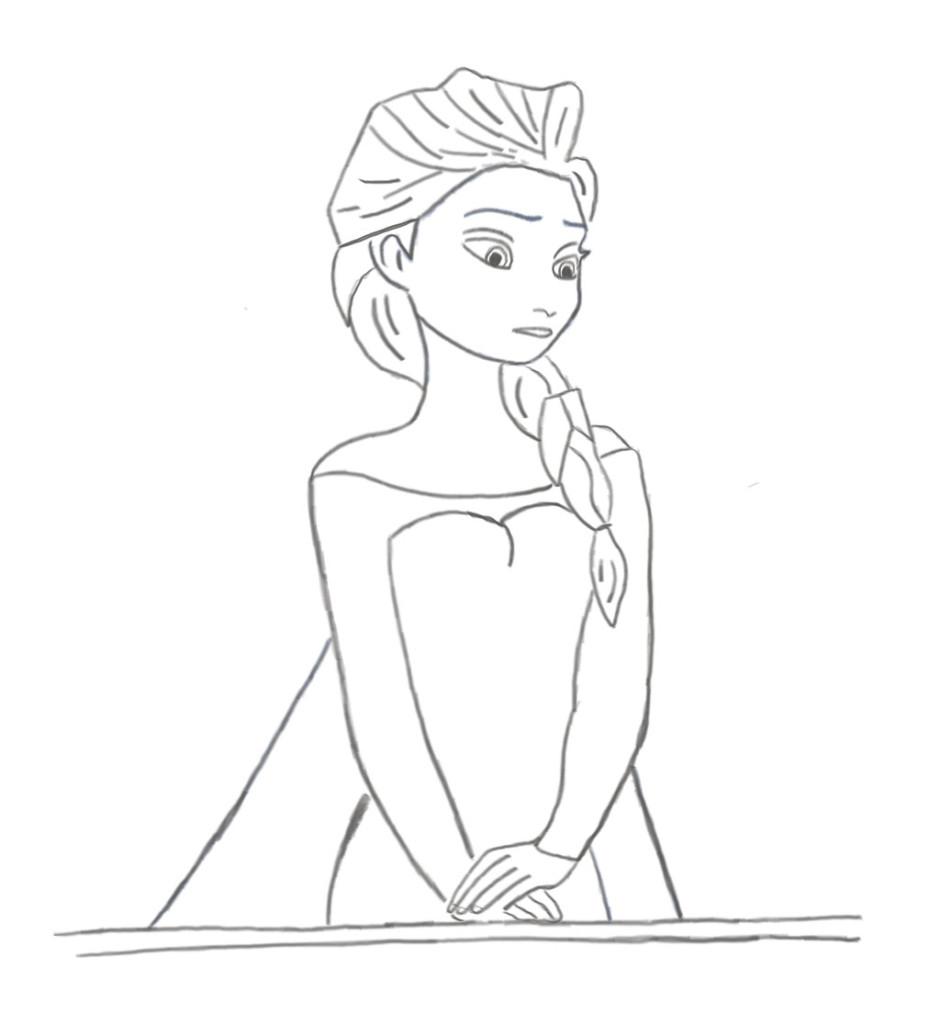 Skizze: Elsa (die Eiskönigin) - Bleistift