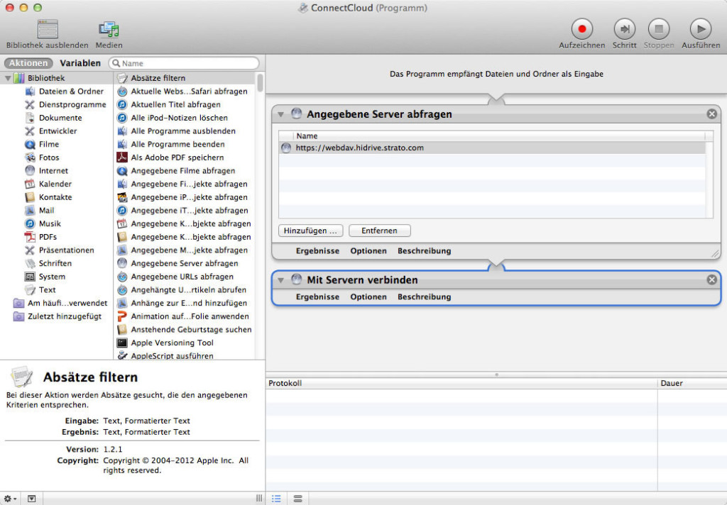 Screenshot MacOS Automator