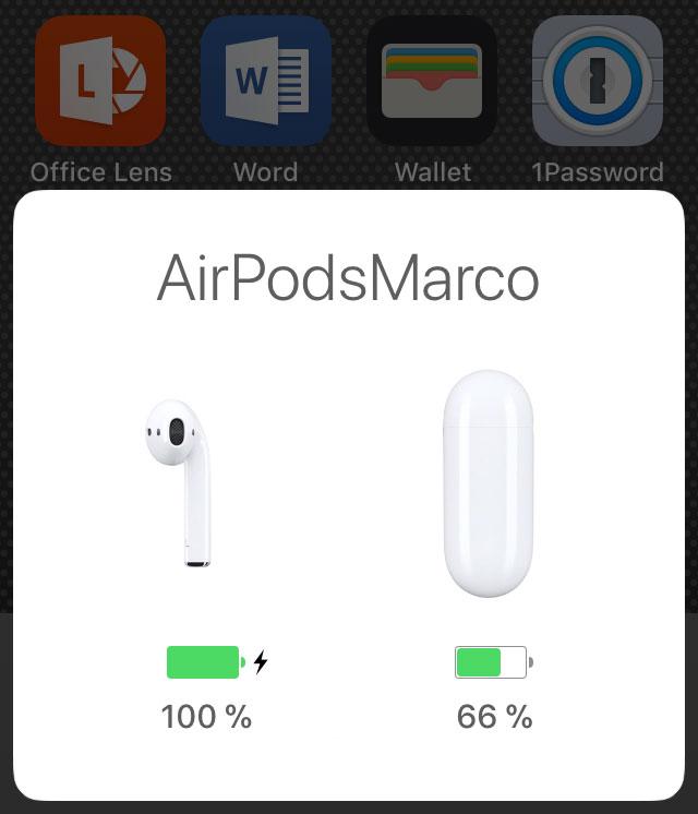 Screenshot: Anzeige des Akkustand der AirPods auf iOS