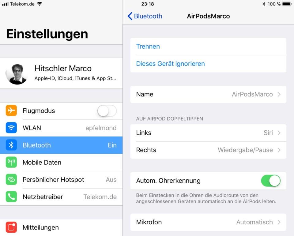Screenshot: AirPods Einstellungen auf iOS