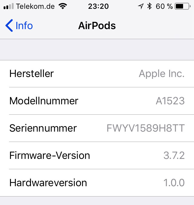 Screenshot: Info zur Version der AirPods Firmware
