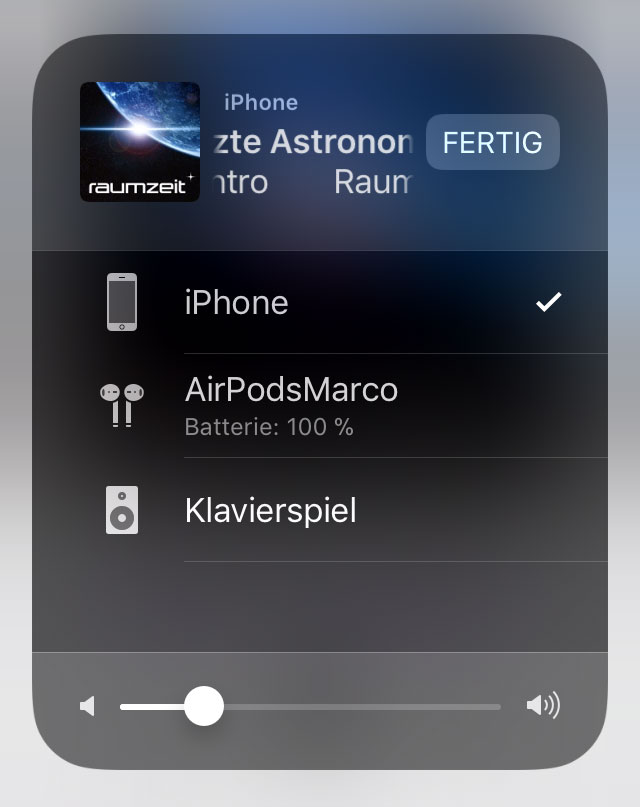 Screenshot: Auswahl des Audio-Ausgabekanals auf iOS
