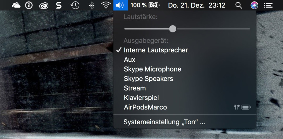 Screenshot: Auswahl des Audio-Ausgabegerät auf macOS