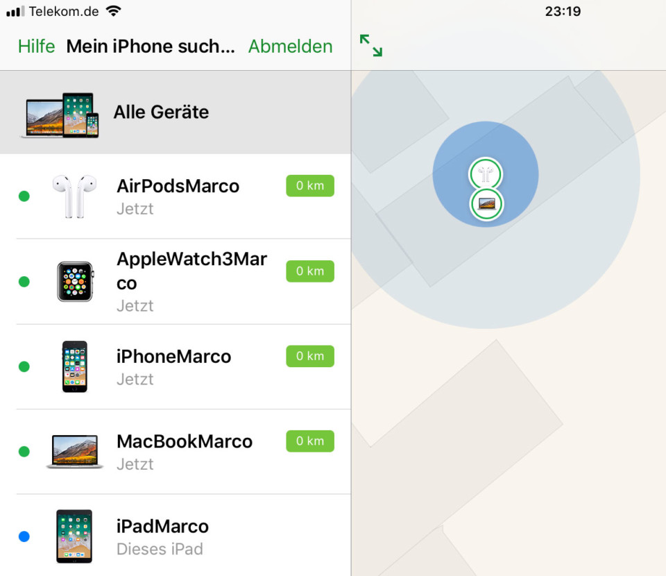 "Screenshot: AirPods mit ""Find my iPhone"" suchen"
