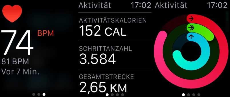 Screenshot: Puls-Messung, Schrittzähler, Aktivität
