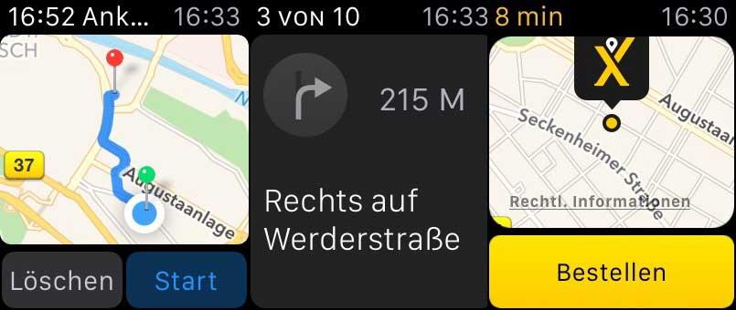Screenshots: Übersicht Wegstrecke, Navigation, myTaxi