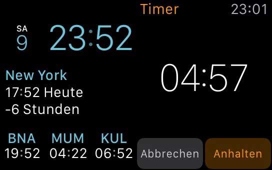 Screenshot: Watchface mit Weltzeiten, Timer
