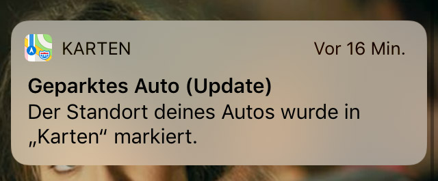Screenshot: CarPlay Geparktes Auto