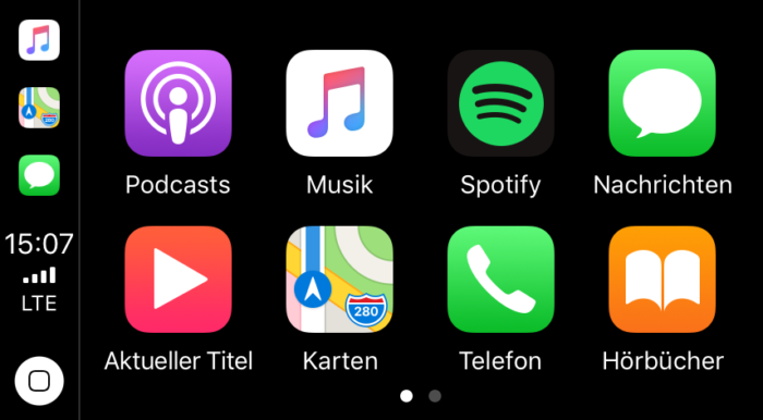 Screenshot: CarPlay Homescreen