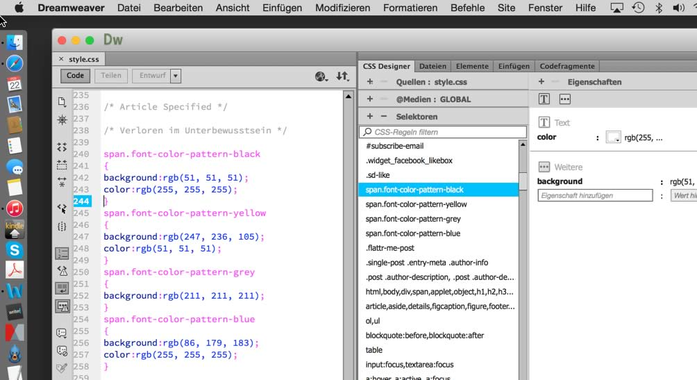 Screenshot: CSS Definitionen