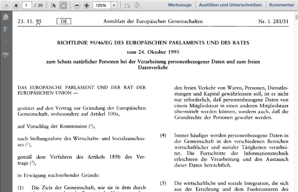 Richtlinie 95/46/EG des europäischen Parlaments und des Rates vom 24. Oktober 1995