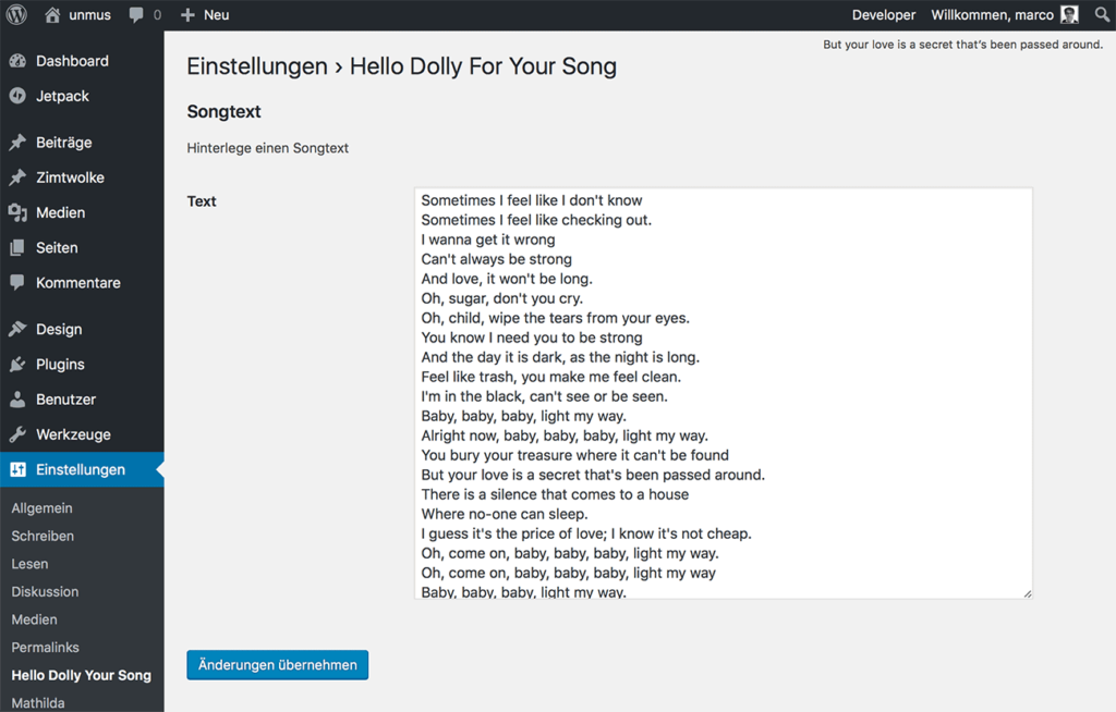 WordPress Plugin Settings Hello Dolly For Your Song