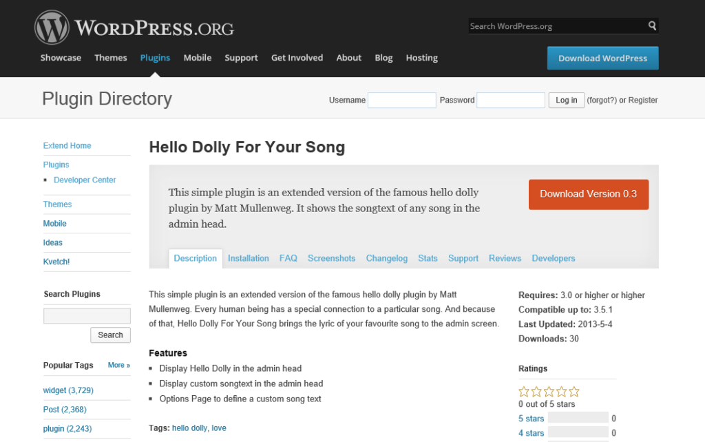 Hello Dolly For Your Song WordPress Plugin