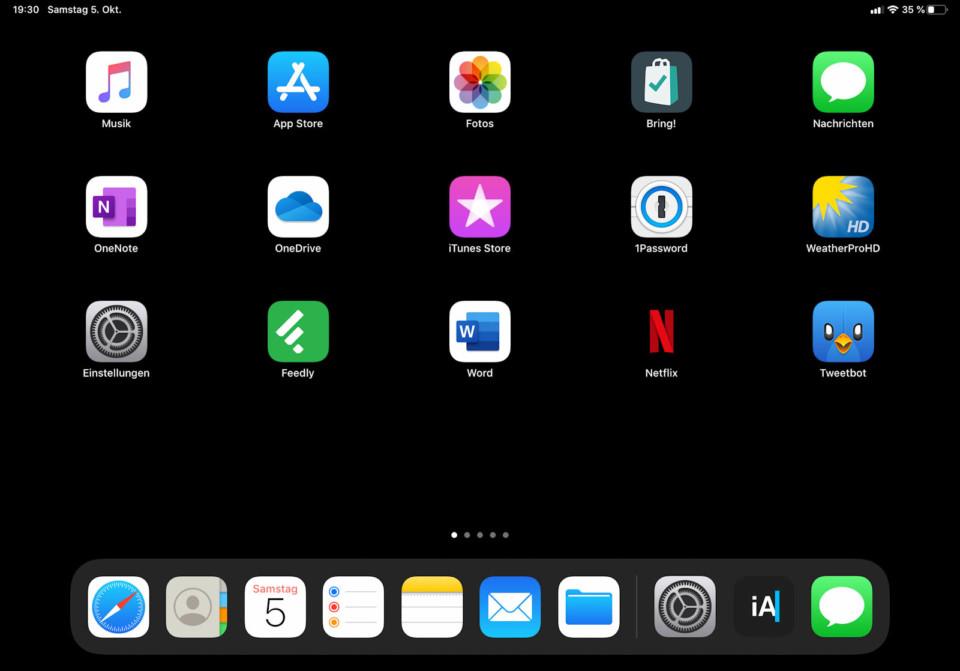 iPad: iOS Homescreen mit 5x4 Raster (quer)