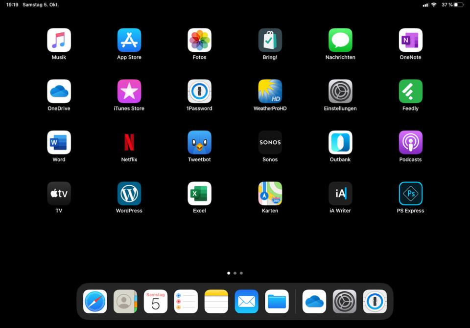 iPad: iPadOS Homescreen mit 6x5 Raster (quer)