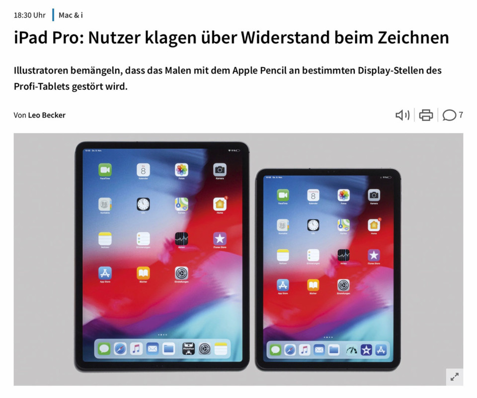 iPad Pro: Nutzer klagen über Widerstand beim Zeichnen (Heise)