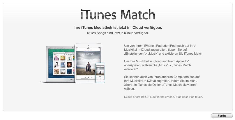 Screenshot: iTunes Match Abgleich Ergebnis