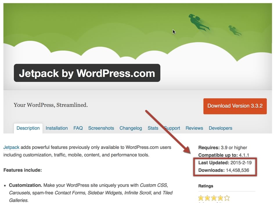 Screenshot: Jetpack Plugin im WordPress Plugin Directory