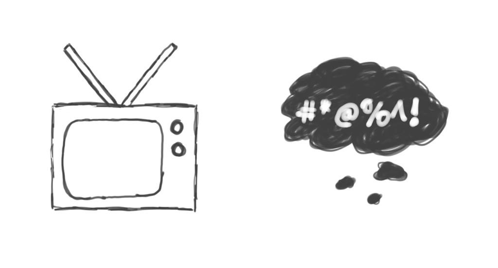Skizze: Papa beim Fernsehen