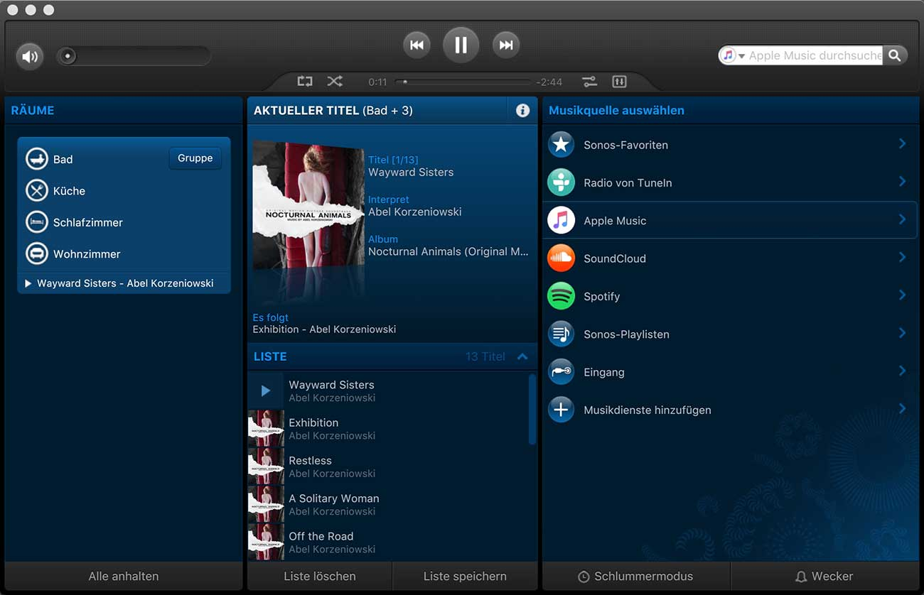 Bild: Sonos MacOS App