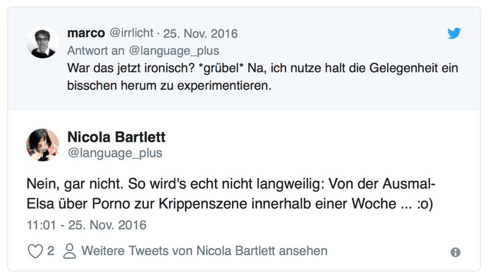 Tweet Nicola Ironisch