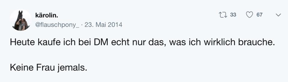 Tweet Schablone Keine Frau/Mann jemals