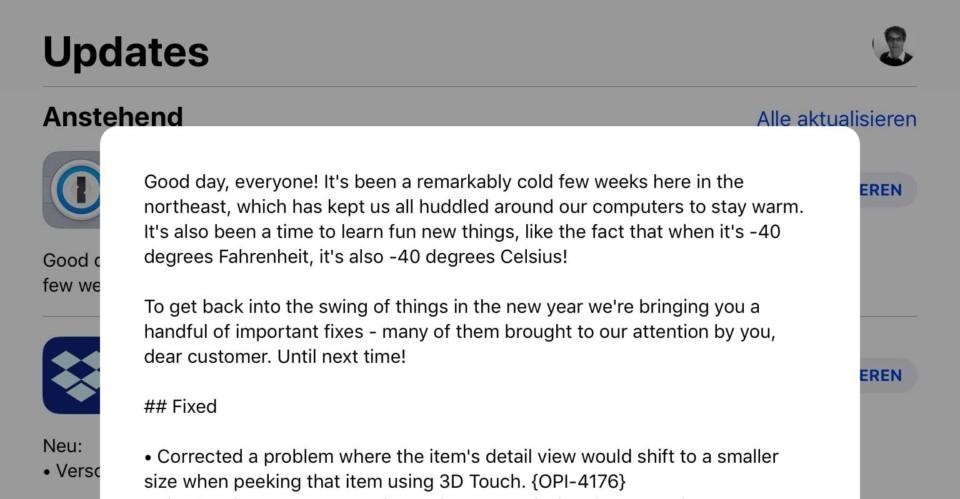 1Password Update / Celcius und Fahrenheit