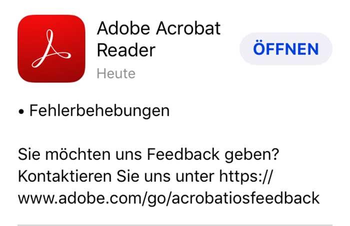 Adobe Update / Fehlerbehebungen