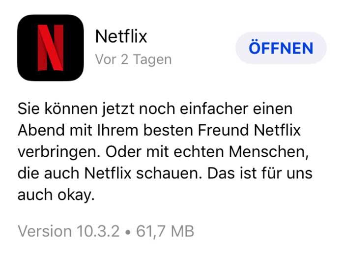 Netflix Update / Freunde