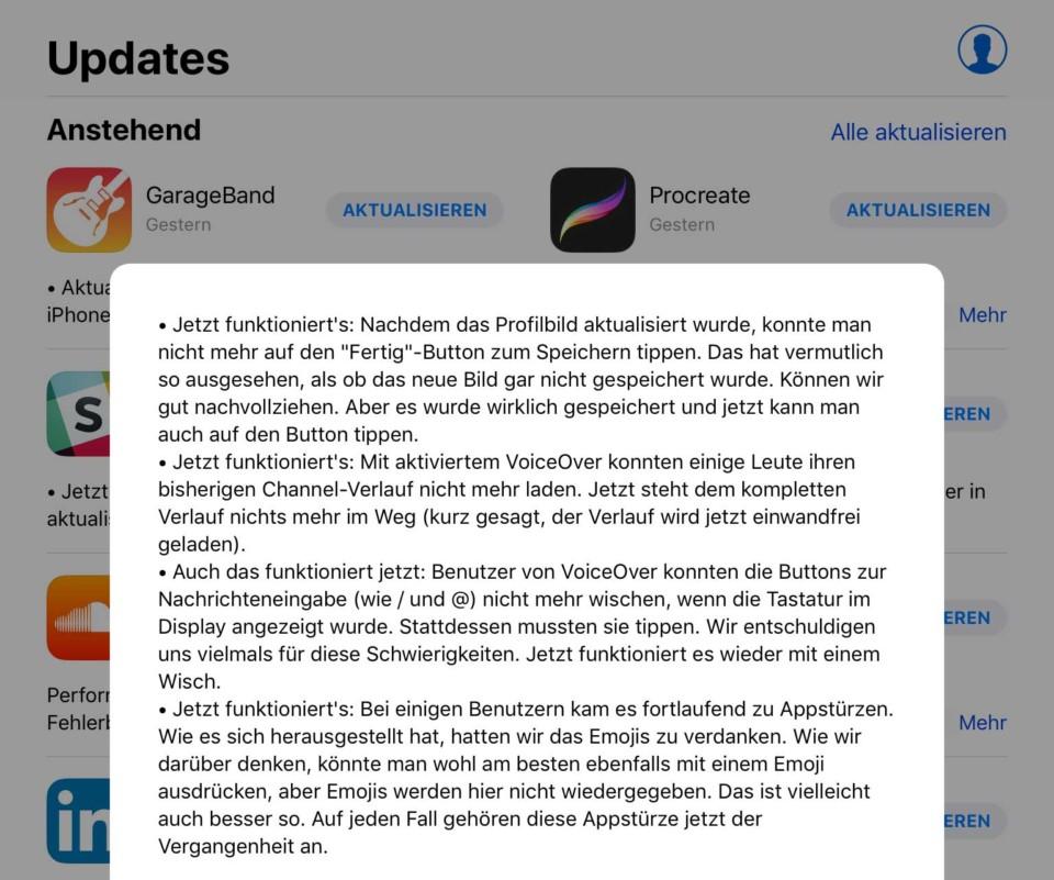 Slack Update / Jetzt funktioniert's
