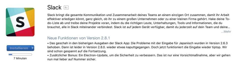 Slack Update / Wieder kaputt