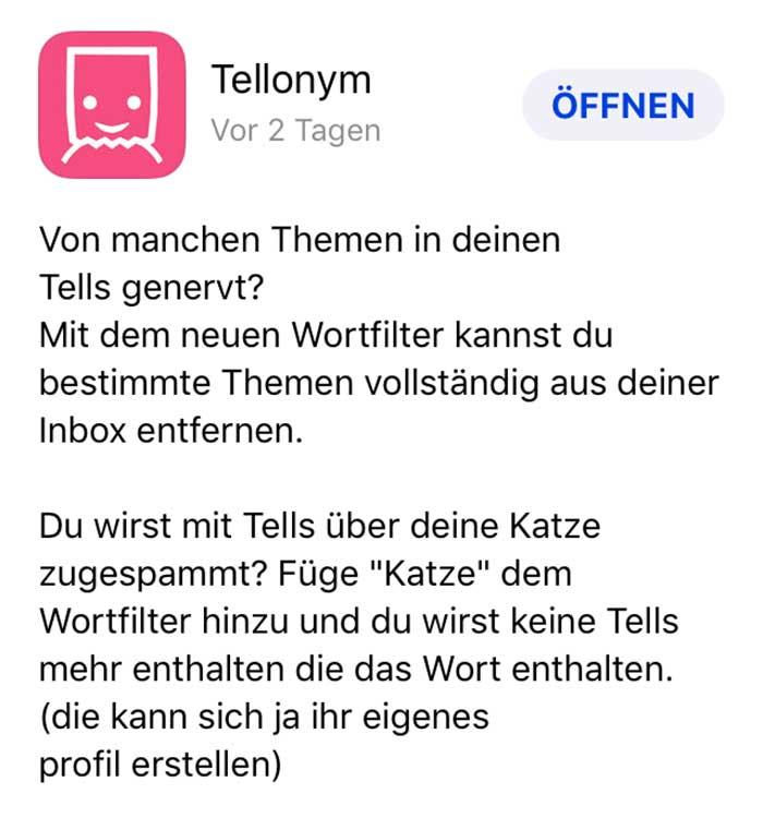 Tellonym Update / Katzen