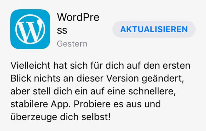 WordPress Update / Stabilität