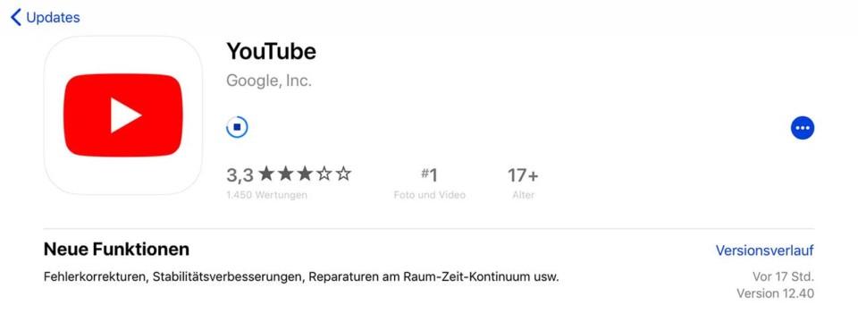 YouTube Update / Zeit und Raum
