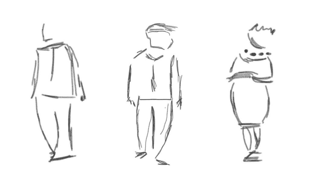 Skizze: 3 Menschen