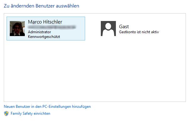 Windows 8 Benutzerübersicht