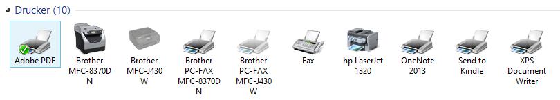 Windows 8 Druckerübersicht