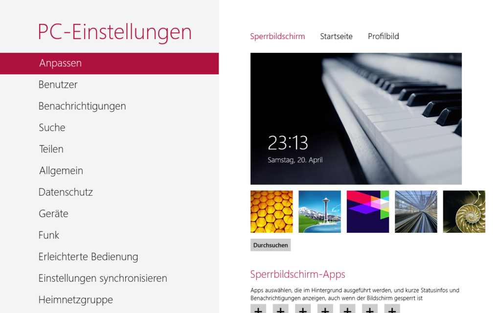 Windows 8 Metro Einstellungen