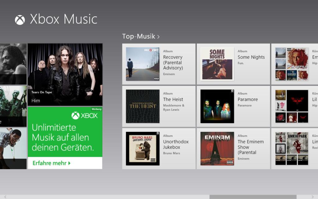 Windows 8 xbox Music auf Metro Oberfläche