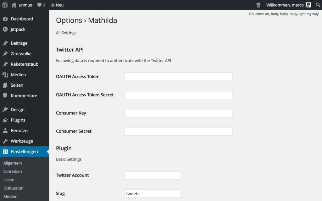 Screenshot: WordPress Plugin Mathilda Settings
