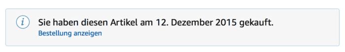 Amazon Warnbalken (Screenshot)