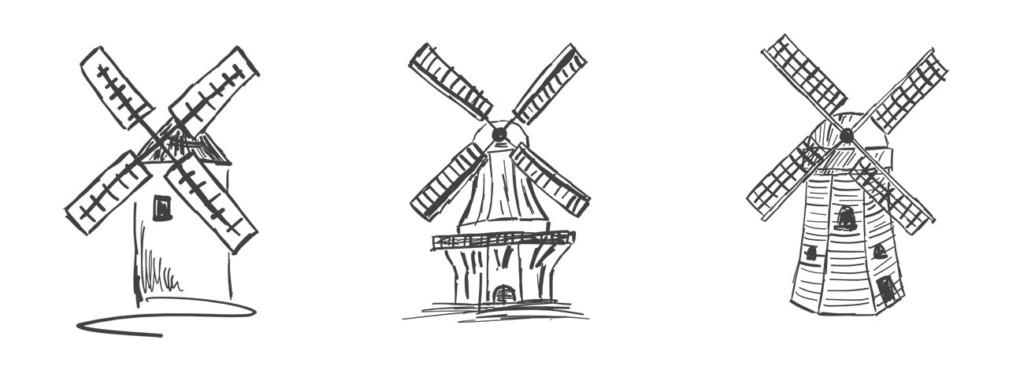 Ein Verbund von Windmühlen