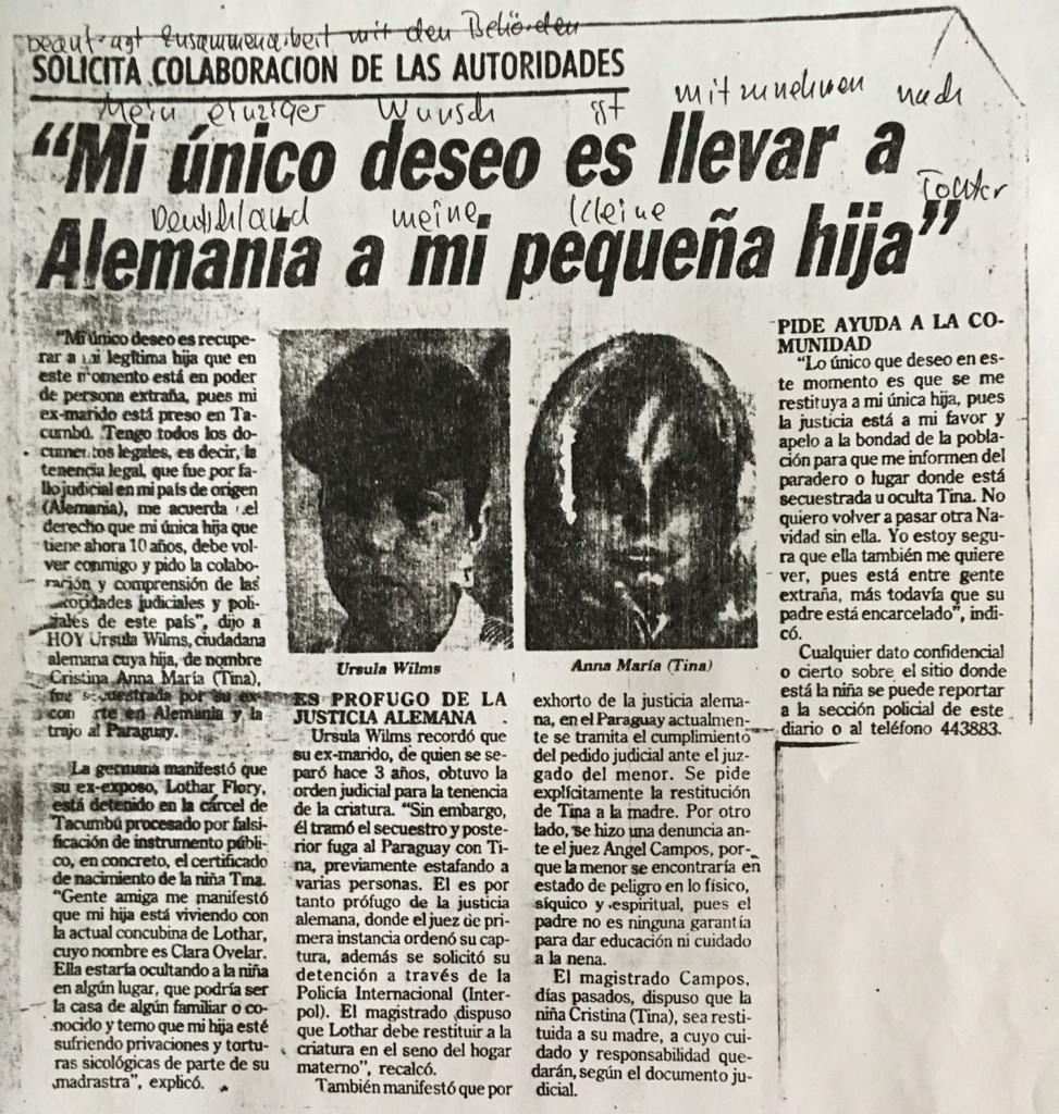 Presseartikel über die Entführung in Paraguay